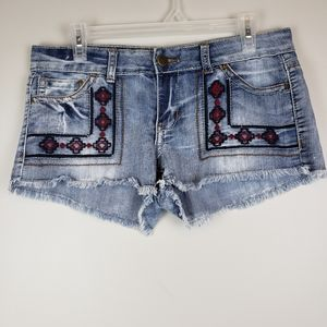 Hot Kiss embroidered denim CiCi shorts sz 11